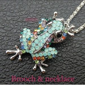NWT BETSEY JOHNSON MINI FROG BROOCH/ NECKLACE